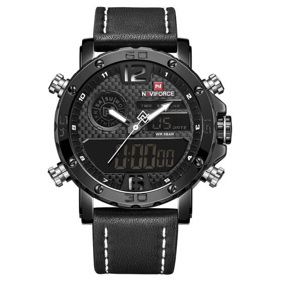 NAVIFORCE NF9134 Quartz Fashion Watch Men Watches Top Brand Luxury Male Clock Business Military Dual Display 30M Waterproof Wrist