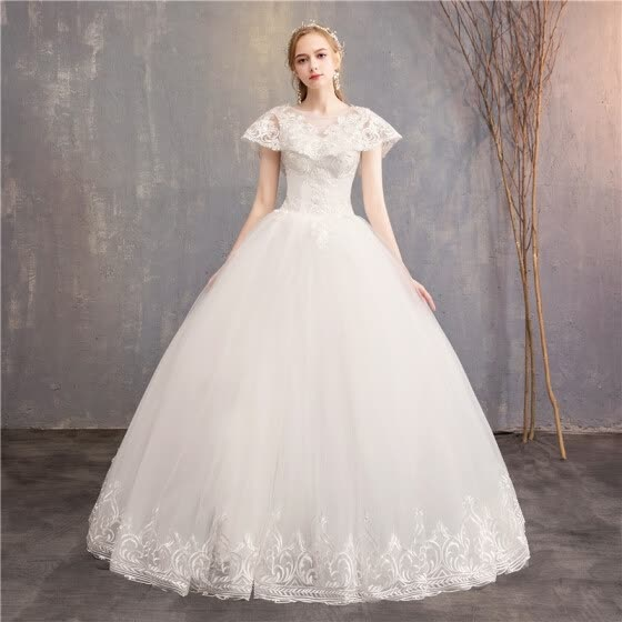 2019 Luxury Wedding Dresses Classic Lace Embroidery Bridal Dress Can Custom Made Wedding Dress