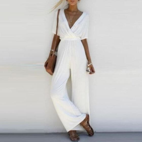 US Women V Neck Loose Playsuit Party Ladies Romper Short Sleeve Long Jumpsuit