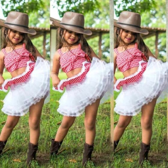 3834e2a1320 UK Lace Toddler Kids Baby Girls Plaid Crop Tops Tutu Skirt Dress Outfits  Clothes