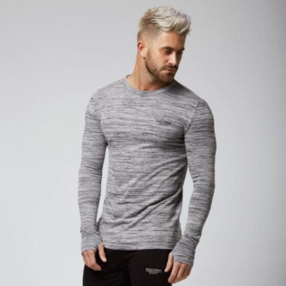 Fashion Men's Slim Fit O Neck Long Sleeve Muscle Tee Shirts Casual Tops Tee XN