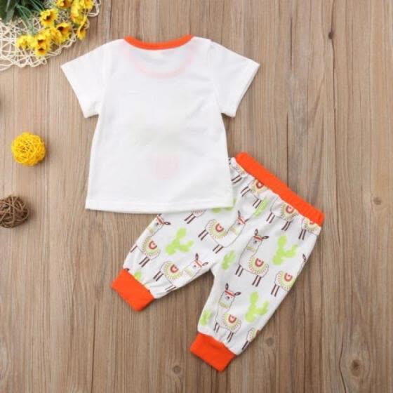 e37409374 Newborn Baby Girl Short Sleeve Floral Tops+Alpaca Print Pants Cotton Outfits  Set