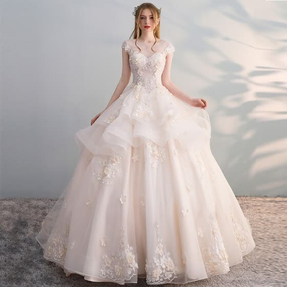 2019 New Luxury Wedding Dresses Classic Lace Applique Wedding Gown Elegant Bridal Wedding Dress
