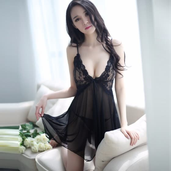 Sexy lady sexy pajamas suspender skirt lace nightdress transparent gathering small chest underwear sexy pajama underwear two-piece