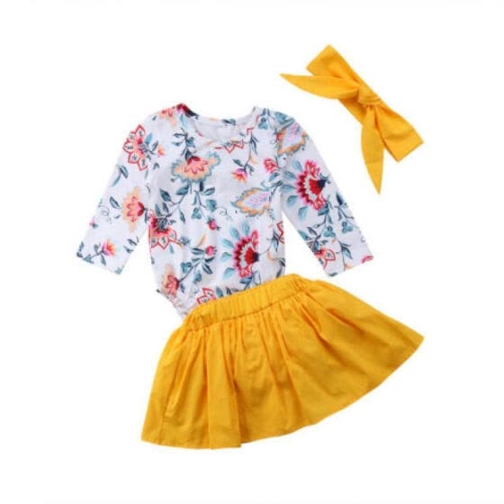 722574be70a3 Newborn Baby Girl Floral Romper Jumpsuit Tops+Shorts Skirts 3Pcs Outfits  Clothes
