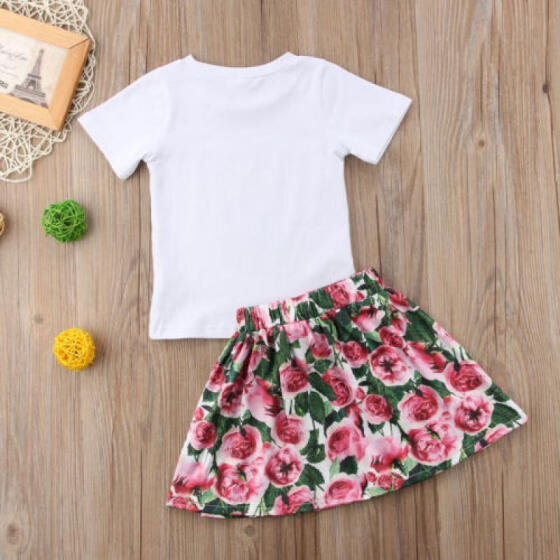 US Stock Pretty Kids Baby Girls Strap Floral Tops Loose Pants Outfit Set Clothes