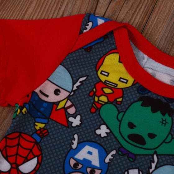 Newborn Baby Boy Romper Jumpsuit Cartoon Heros Pattern Summer Clothes Outfits
