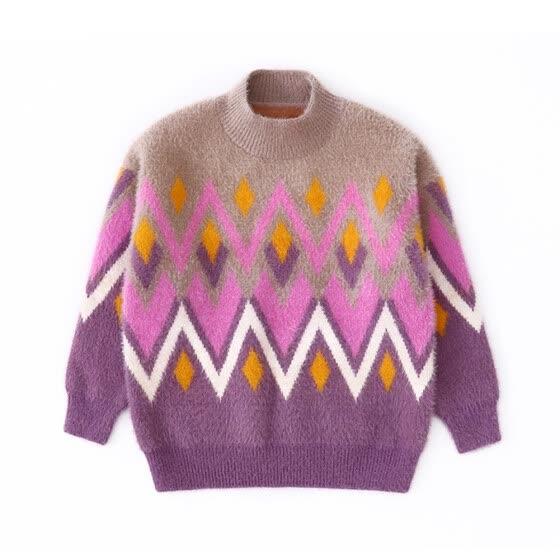 8df5aeedc03 New Girls Long Sleeve Crew-neck Fluffy Short Pullover Diamonds Waves  Pattern Sweaters Dressy Deep