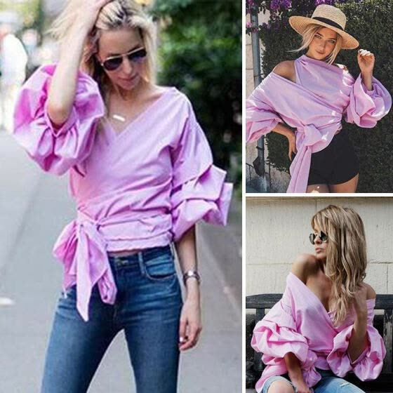 54f90a3c92afc Women Bardot Top Ruffle Sleeve Waist Tie Cross Off Shoulder Shirt V-neck  Blouse
