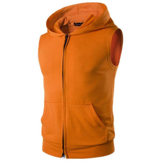 Men Sleeveless Hoodie Vest Coat Sport Gym Hooded Sweatshirt Sweater Outwear Tops