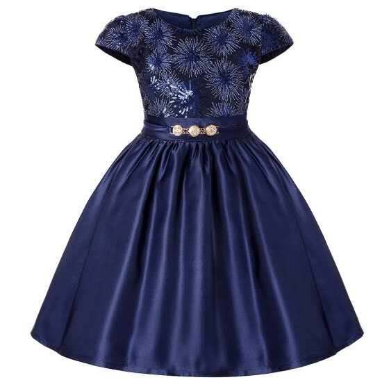 Girls Gorgeous Navy A-line Sequins Pleated Dresses Red Cap-sleeve Champagne Party Dress Clothing