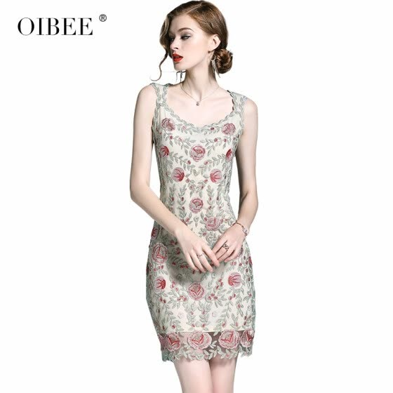OIBEE2018 Summer Skirt Sleeveless Lace Skirt Fashion Embroidered Slim Dress
