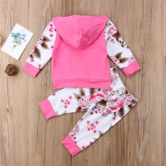 98869b1f155e Newborn Infant Kids Baby Girl Clothes Floral Hooded T-shirt Top+Pants  Outfit Set