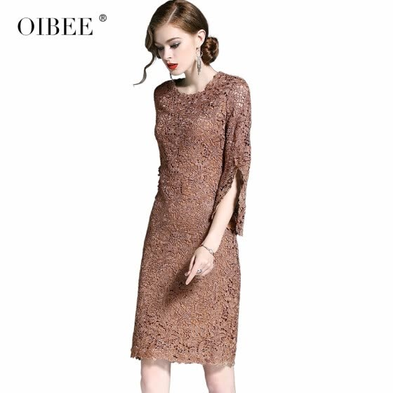 OIBEE2018 autumn new fashion embroidered hollow seven-point sleeve dress slim slim bag hip skirt female