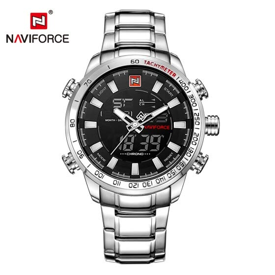 NAVIFORCE Luxury Dual Display Digital Quartz Men Watch Stainless Steel Luminous Sports Watch Chronograph Water-Proof Man Clock + G