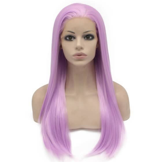 Iwona Synthetic Hair Lace Front Long Stright Purple Wig