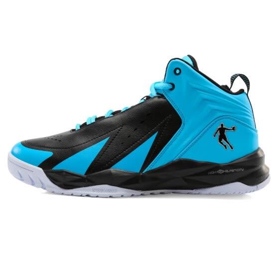 3b823eabbcf7 Jordan (QIAODAN) men s classic basketball shoes XM1560110 black   ice blue  45