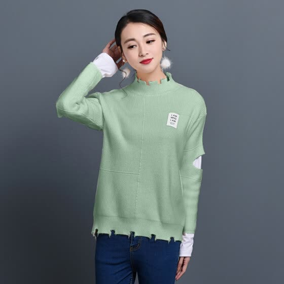 KuoyiHouse 8005 sweater Korean version of the thin hole is a small hole collar splicing open sleeve sets of knit sweater beans green