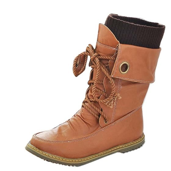 a6f42f73 Fashion Women's Snow Boots Military Martin Motorcycle Lace Up Mid-calf Shoes