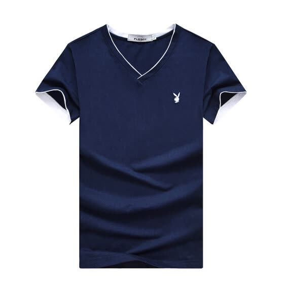 PLAYBOY Mens T-shirt Short Sleeve Casual V-neck T-shirt