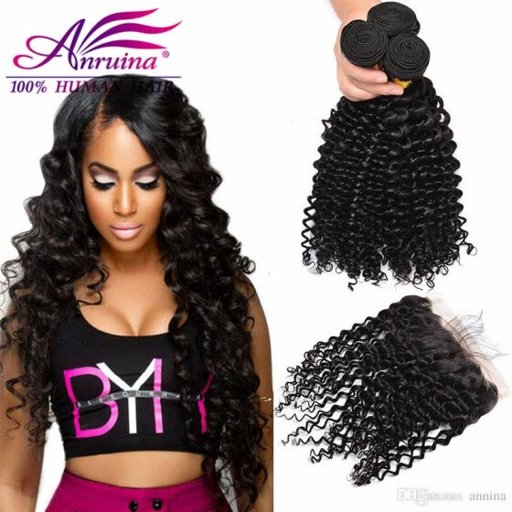 Cheapest Indian Deep wave With Frontal Full 360 Lace Frontal With Bundle  Deep Wave Natural Raw ab82576cf55b