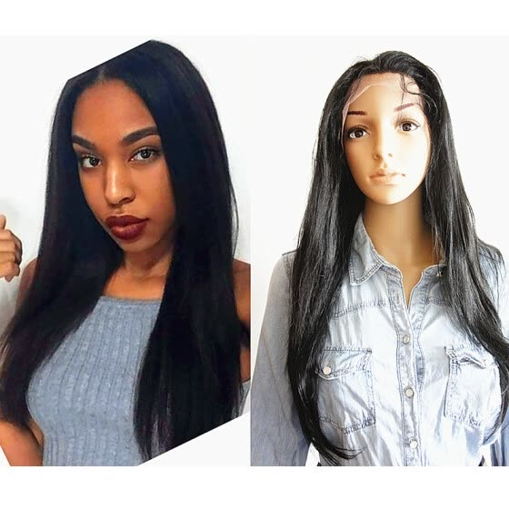 N.L.W. Brazilian virgin human hair silk straight lace front wigs for black women Natural color human hair wig with baby hair