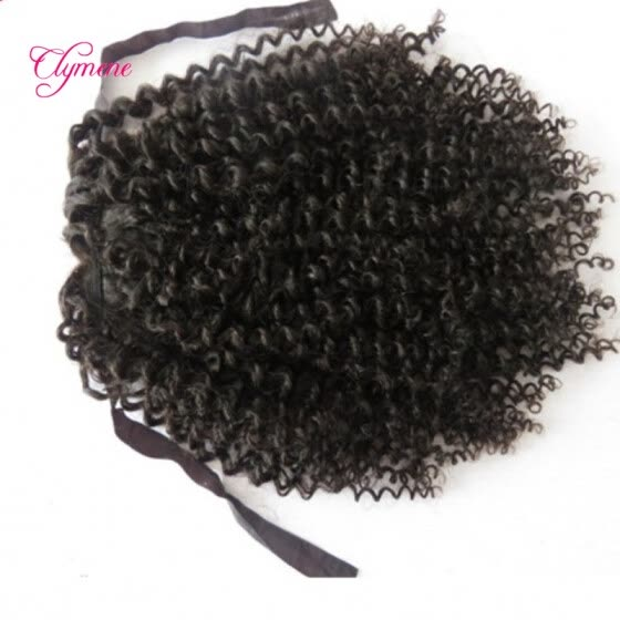 Clymene Hair Kinky Curly Virgin Human Hair Ponytail 4x4 Size Brazilian Hair Extensions For African Americans