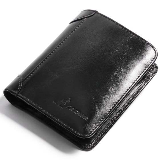 Alpine kangaroo (L'ALPINA) wallet men's short men's fashion wallet large capacity driver's license thin head layer leather wallet 661052130 oil wax black