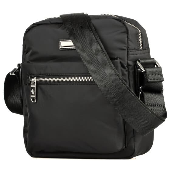 St. Paul's Polo male bag nylon canvas men's shoulder bag vertical section of the move Messenger bag waterproof black