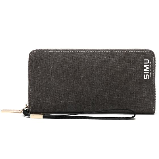 Think of animal husbandry (SIMU) 6055 canvas wallet long section zipper wallet Korean version of the retro vertical section of the student wallet multi-card bit can be put mobile phone bag black gray
