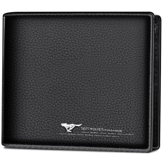 Seven wolves (SEPTWOLVES) men short paragraph wallet business casual first layer of leather crossed card package multi-function ticket holder driver's license package 3A10174 black