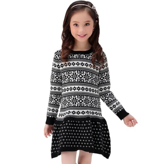 Xin Song girl black fashion snowflake long-sleeved sweater dress autumn and winter England design warm hedge knitting dress C305A110