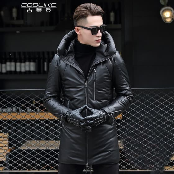 Men's leather jacket long sleeve autumn witer long clothing with duck down padding genuine sheepskin coat real leather the newest