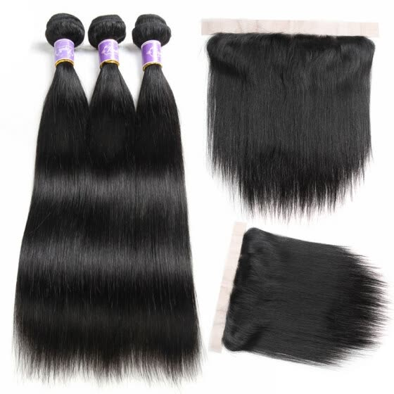 Lace Frontal Closure With Bundles Straight Virgin Hair Bundle Deals With Frontal 3 Bundles Human Hair Weave With Frontal Closure