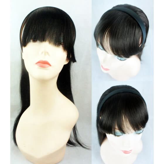 fa6b9ebb40c16 Shop Free Shipping Flat Bangs with Hairband Straight Women Hairpiece ...