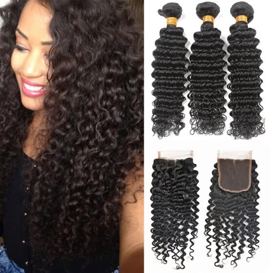 Bling Hair  Brazilian Virgin Hair Deep Wave 3 Bundles with Closure 7A Grade 100% Unprocessed Human Hair Weave