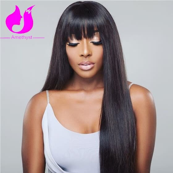 139a73264d8 Shop Amethyst Silky Straight Human Hair Wig With Bangs 130 Density ...