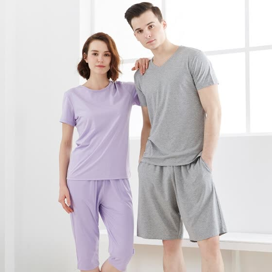 [Jingdong supermarket] small nurse pajamas home service men and women modal cotton summer can wear short-sleeved home service ZST006 loose large version of gray L (170/100)