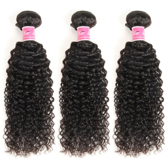 Malaysian Kinky Curly Virgin Hair Curly Weave 3 Bundles Unprocessed Human Hair Extensions Natural Black Color #1B Can Be Dyed