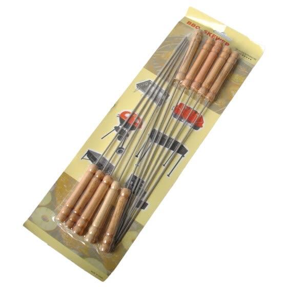 TaTanice деревянной ручки анти-горячая жареная игла барбекю прод подписал гриль инструмент десять загружены