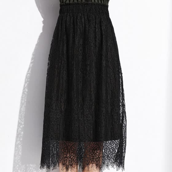 MAZOE Korean fashion loose waist on both sides wear lace half skirt fake two pleated skirt M103 black uniform