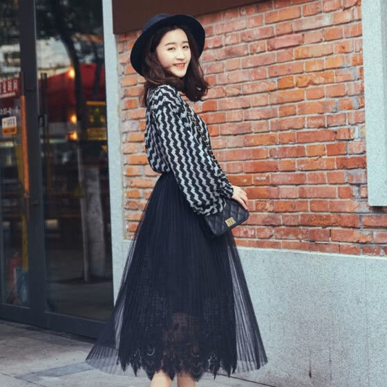 Long Yue women's high waist pleated skirt loose waist pure color lace in the long paragraph skirt LWQZ173104 black uniform