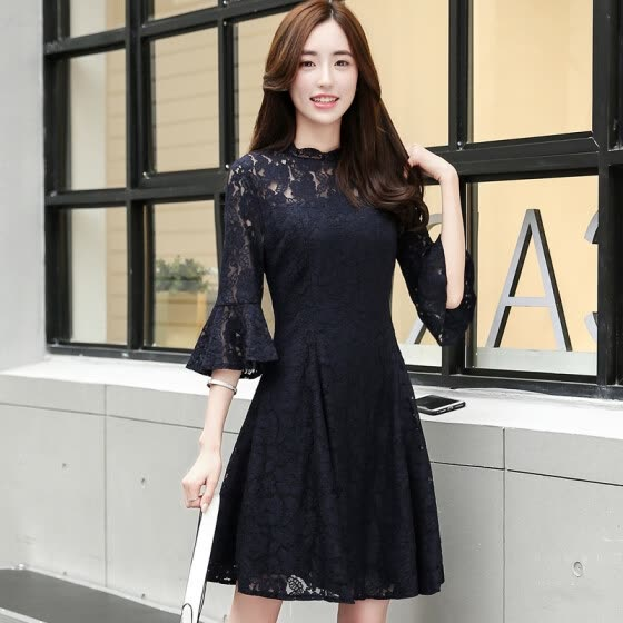 A morning morning 2017 summer dress female big yards waist Slim was thin hollow sleeved sleeves round necklace printing package skirt skirt in the long skirt S71R0165A181S navy blue S