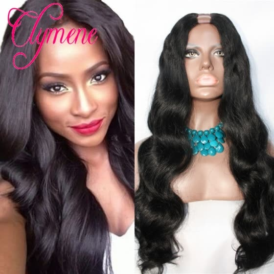 Clymene Hair Wet and Wavy Unprocessed U part Human Hair Wigs 180% Density Brazilian UPart Wigs For Black Women