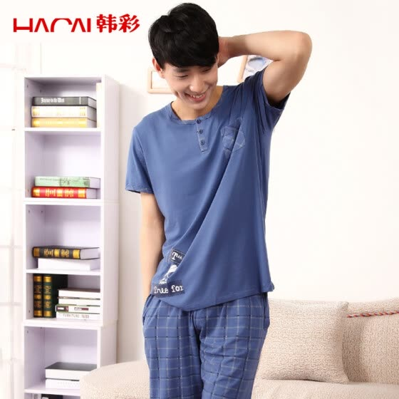 [Jingdong supermarket] Han Choi (HACAI) pajamas male short-sleeved Modal cartoon printing home clothing suit light gray ash 185/110 (3XL)
