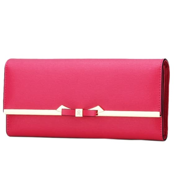 Montessori (MONTAGUT) wallet female long paragraph two fold bow Korean version of the big money folder folder Ms. simple buckle R5222056214 pink