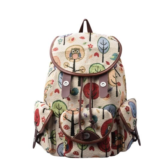 1dbfaaf41 Douguyan Canvas Backpack Lightweight Vintage Print School Bag for Girl Women  G00125