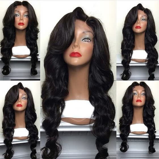 Cheap Sale 150% Density Wavy Lace Front Human Hair Wigs For Black Women Pre  Plucked 2ef7ea860d