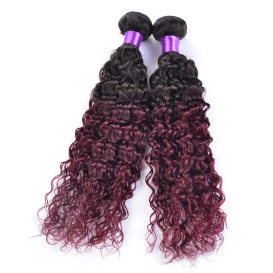 1 Bundles 1B 99J Ombre Weave kinky curly Human Hair 7A Cheap Burgundy Ombre malaysian Hair Bundles Weave two tone ombre Burgundy