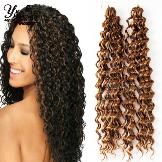 Premium New Deep Wave Synthetic Hair Extension Curly Synthetic Weave 2pcs Per Pack For Full Head Jerry Curl Crochet Braids Twist